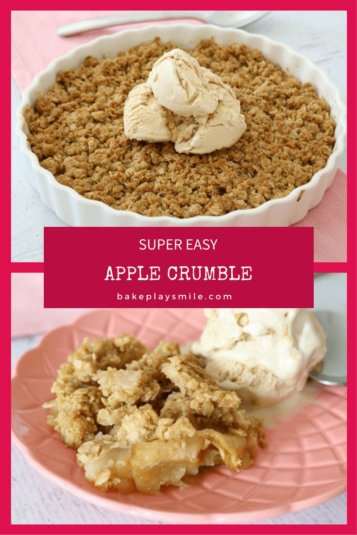The BEST and EASIEST APPLE CRUMBLE RECIPE EVER!!! This is a family favourite of ours! Super quick to make.. and it tastes AMAZING! Serve with a big scoop of ice cream, drizzle of cream or a dollop of custard! #apple #crumble #easy #recipe #thermomix #conventional #baking #winter #dessert