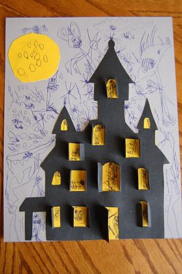 Haunted house craft. kids Halloween Project Idea