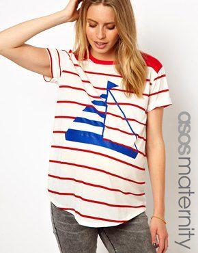 Boyfriend Tee in Stripe and Boat Print