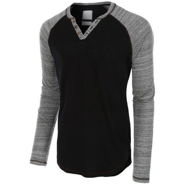 LE3NO Mens Long Sleeve Color Block Crewneck Henley Shirt ❤ liked on Polyvore featuring men's fashion, men's clothing, men's shirts, men's casual shirts, mens long sleeve cotton shirts, mens long sleeve casual shirts, mens color block shirt, mens long sleeve shirts and mens longsleeve shirts