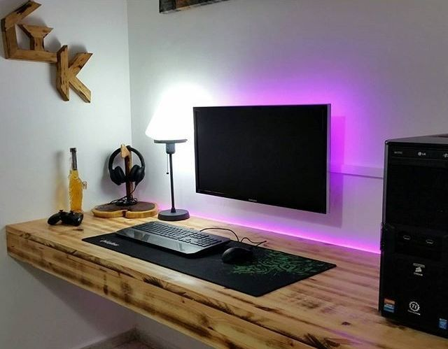 22 Diy Computer Desk Ideas That Make More Spirit Work Enthusiasthome Computer Desk Setup Computer Desk Design Diy Computer Desk