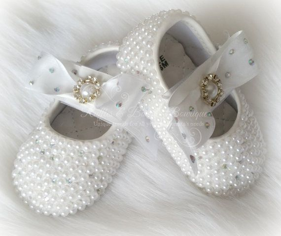 Beautiful Pearl and Crystal baby shoes perfect for Baptism, Christening, Birthdays, Baby shower presents & a baby keepsake... The rhinestones & pearls cover the entire shoe with the exception of the b
