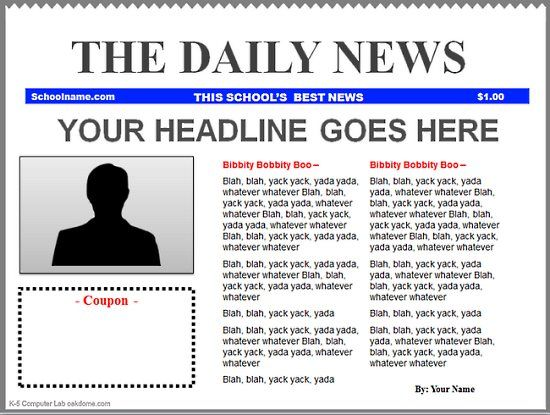 16 best images about Newspaper template – Newspaper Headline Template