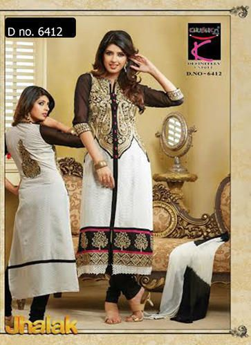 Beautifully designed cotton Straight cut Salwar Suit Black and White with beautiful embroidery work done. Comes along with Matching Cotton Bottom and Chiffon Duppatta.