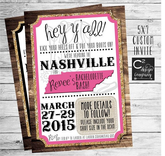 Gold Glitter Nashville Bachelorette Party Invitation