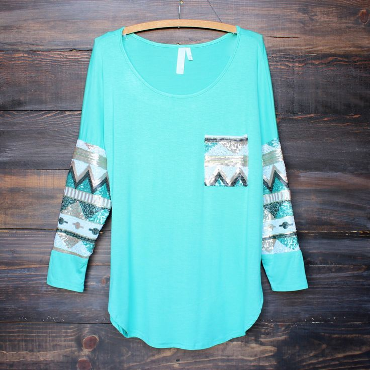chevron sequin aztec sleeve tunic (3 colors - mint, peach, ivory)