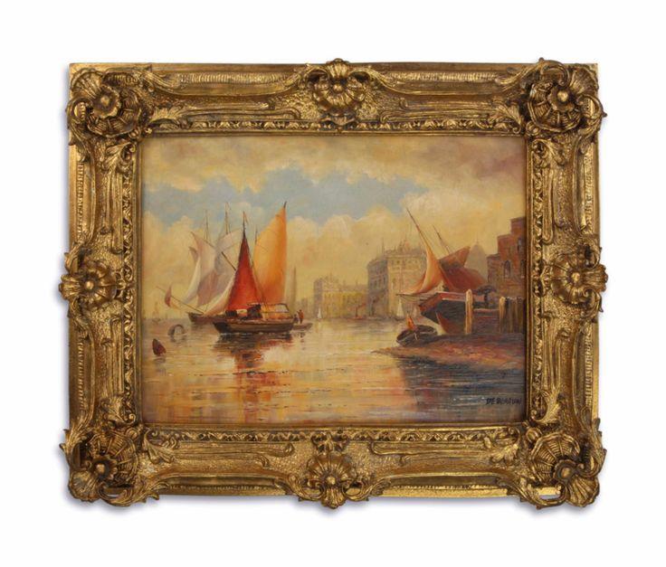 Olieverf schilderij van een haven.  https://www.antiekenbrocantereplica.nl
