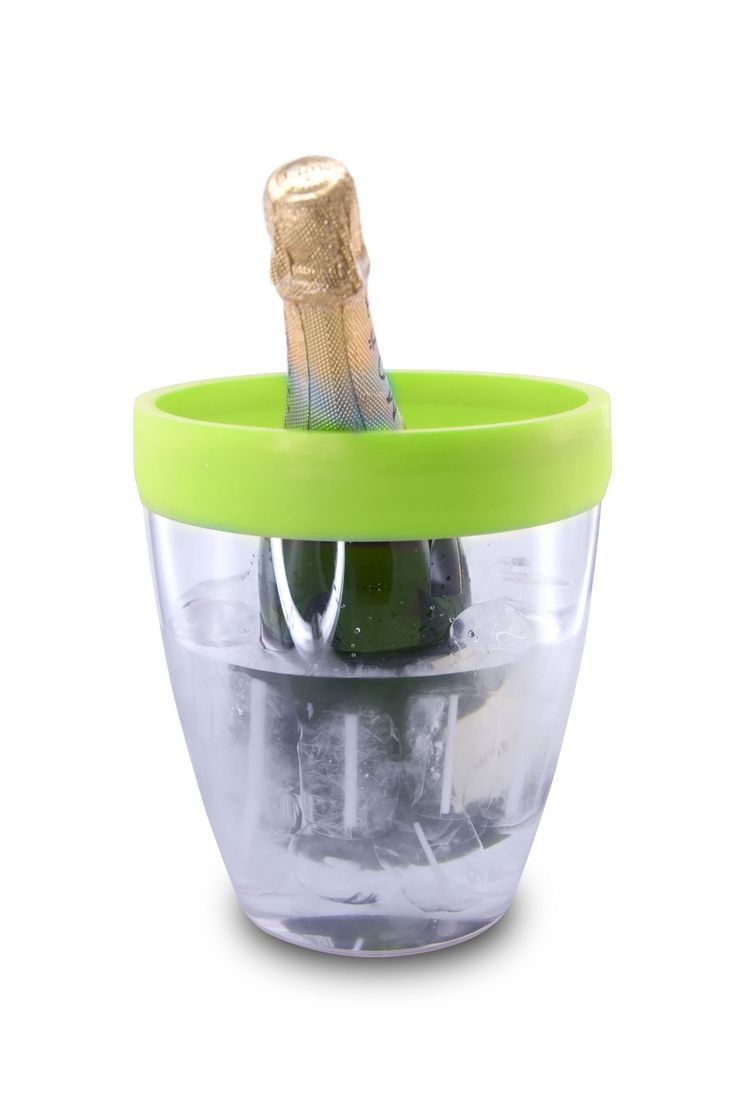 Wiaderko do lodu z obręczą silikonową (zielone) - PULLTEX - DECO Salon #wine #wineaccessories #winelovers #giftidea #icebucket