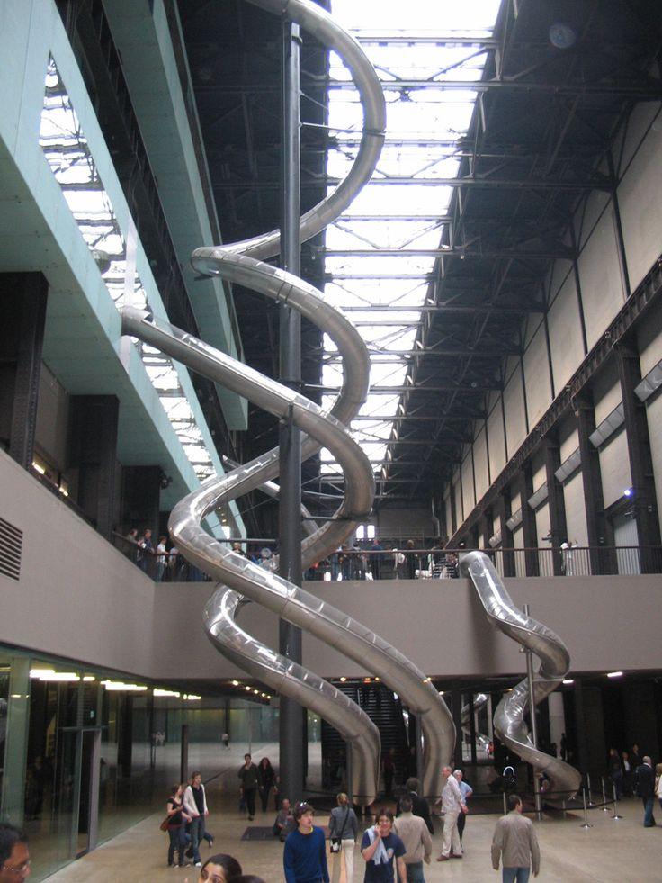 Tate Modern Museum, London. three massive indoor slides: tallest is 5-stories