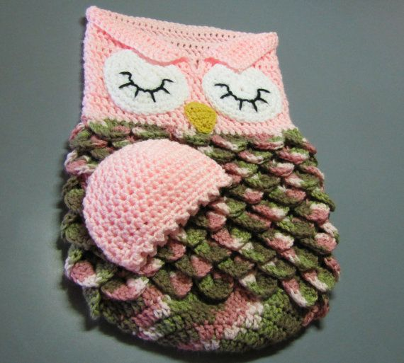 Crochet Pattern For Minion Baby Outfit : Baby cocoon and cap pink owl Cap dagde, Etsy and Owl