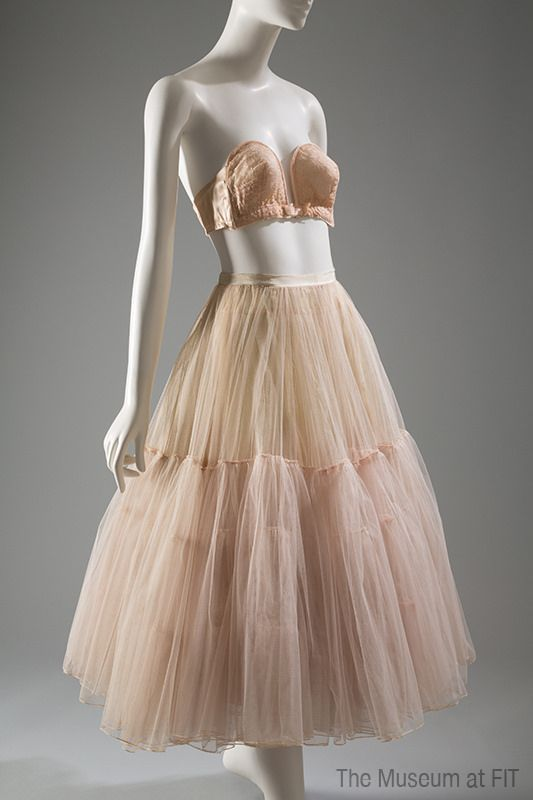 Bra and Dior petticoat, 1949 & 1951 | Poirette, bra, nylon, net