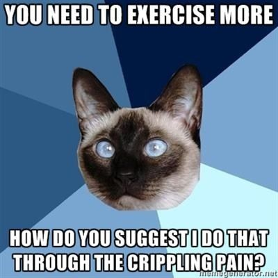 Life with Fibromyalgia/ Chronic pain. No kidding I hear this one all the time!!