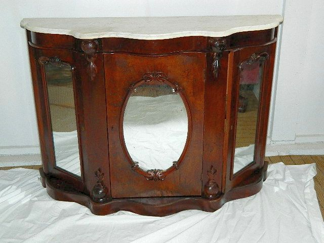 Victorian Console Table W/Marble Top 3 Mirrored Doors Applied Carvings