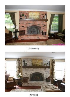 First, they removed the wood mantle. Then, using a mixture of equal parts of latex paint and water, one of them applied it to the bricks with a paintbrush while the other followed behind with a rag removing the access.