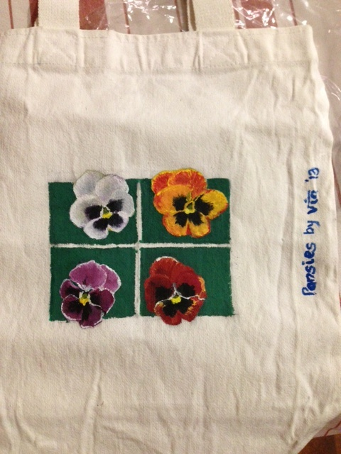 Hand painted white canvas bag. Mail to viabagstore for further details.
