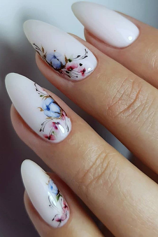 30 Pinterest Nails Wedding Ideas You Will Like � pinterest nails long white with hand painted cotton flowers olgastognieva #weddingforward #wedding #bride #weddingnails #pinterestnails