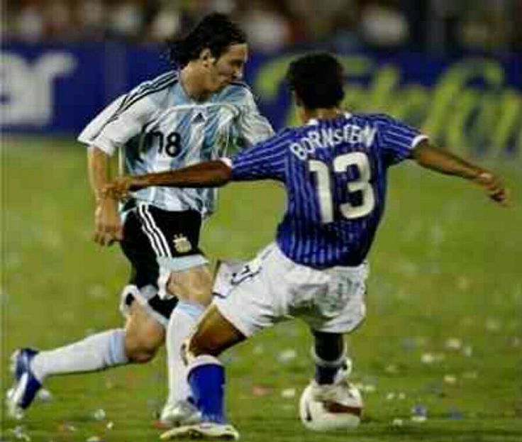 Argentina 4 USA 1 in 2007 in Maracaibo. Lionel Messi takes on and beats Jon Bornstein in Group C at Copa America.