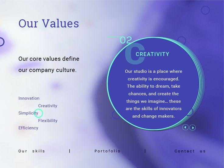 Core values section by Madalina Taina