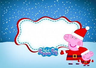 Peppa Pig in Christmas: Free Printable Invitations.