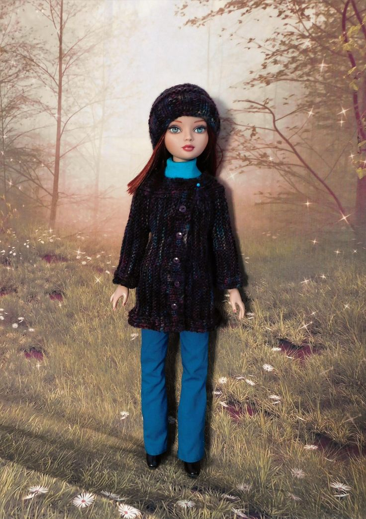 https://flic.kr/p/RFiAXA | Cold Winds | Eve showing off her new coat made as part of the Cold Winds Knit-a-Long on the Ellowyne group on Ravelry.     Top and Trousers made from Raccoon's Rags pattern  SSP028
