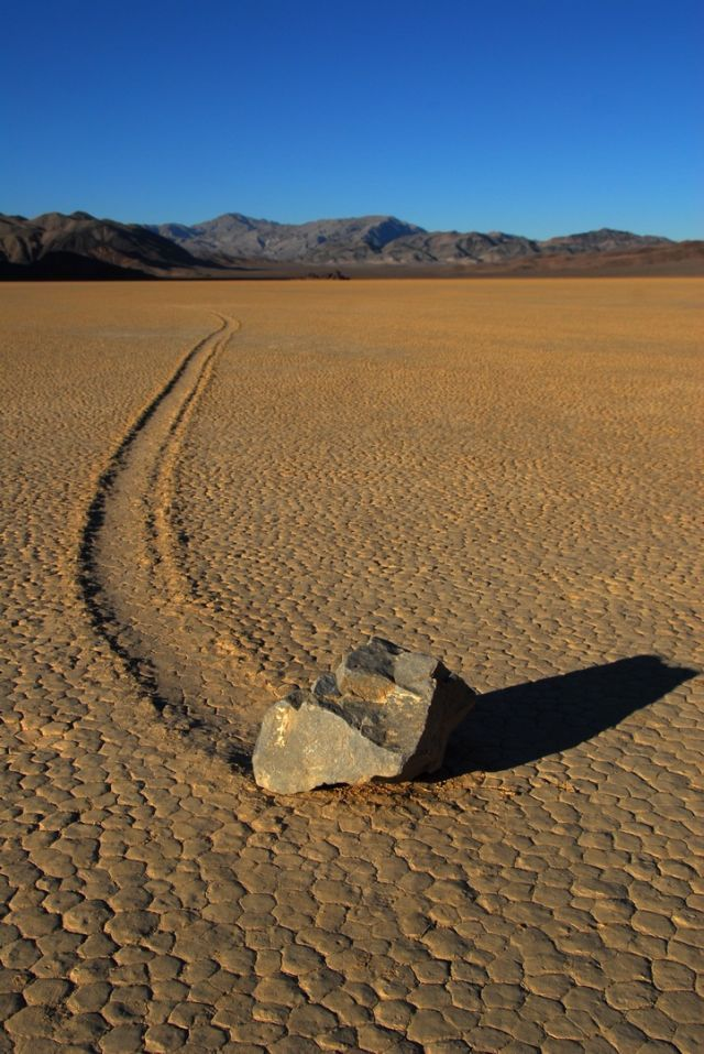 Sailing stone of Death Valley...they should do an episode on these, what they reeeeeeally are...