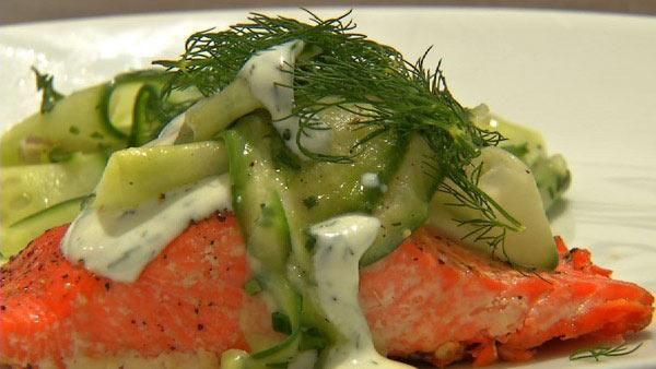 sesame cucumber salad grilled salmon with thai cucumber basil salad ...