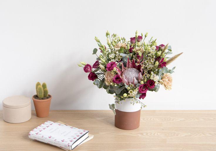 Bouquet de fleurs - Bergamotte avec du rouge et du rose pour un bouquet champêtre dans la tendance 2017