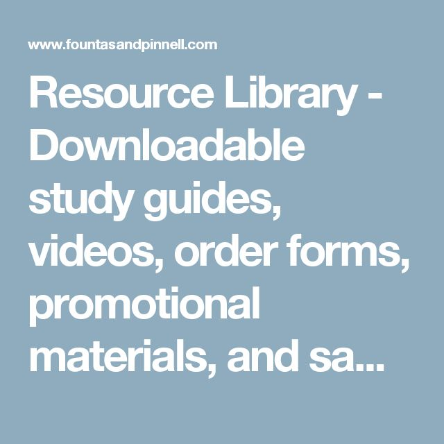 Resource Library - Downloadable study guides, videos, order forms, promotional materials, and samplers