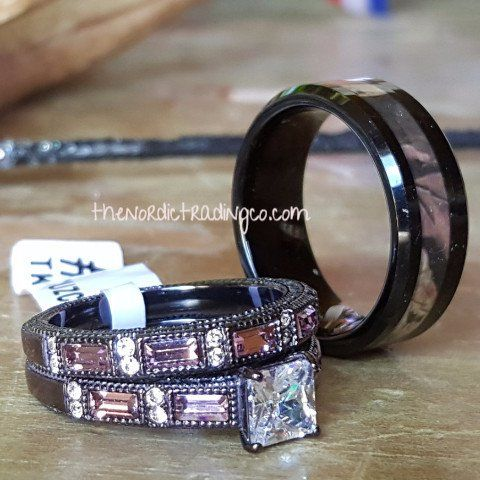 Camouflage Wedding Ring Set Men's Band 7-14 Engagement Ring Women's 5-11 Hunter's Rustic Camo Rings