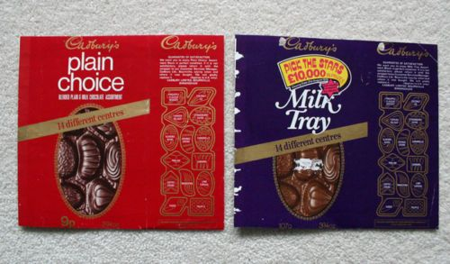MILK TRAY + PLAIN CHOICE - 1970'S CADBURY'S BRITISH Chocolate Candy Bar Wrapper