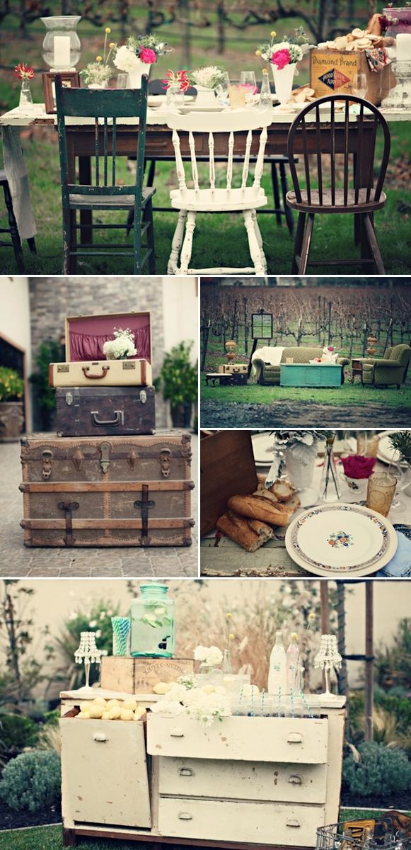 milk glass, china, suitcases, furniture, all available at to rent at Southern Vintage