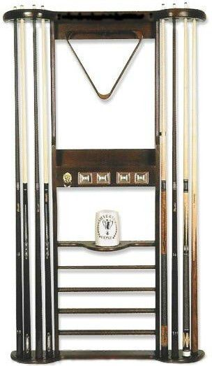 8 CUE WALL RACK W/SCORERS For POOL TABLE / BILLIARD CUE STICKS ~ MAHOGANY ~  NEW