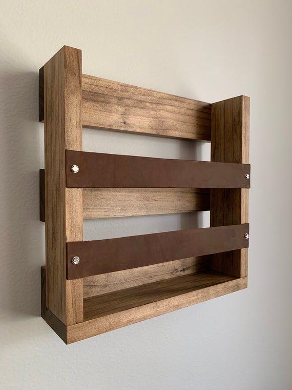 Magazine Holder Office Storage Wall Mounted Wood And Leather Etsy Leather Magazine Rack Magazine Holders Wood Rack