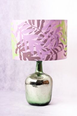 PALM TREE LAMP  hand screen printed lampshade and mirror bottle