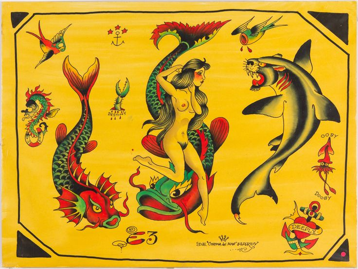 Don Ed Hardy flash from 1997 Acrylic on illustration board 15 x 20 inches Offered by Track 16 Gallery