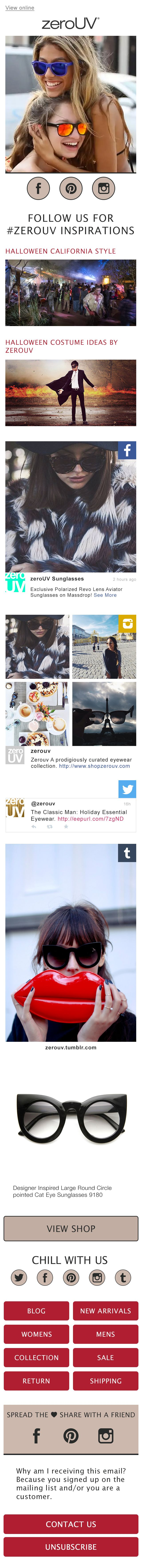 Brand-focused campaign for zeroUV w/ live social feeds that refresh on each open using open-time technology http://www.shopzerouv.com/
