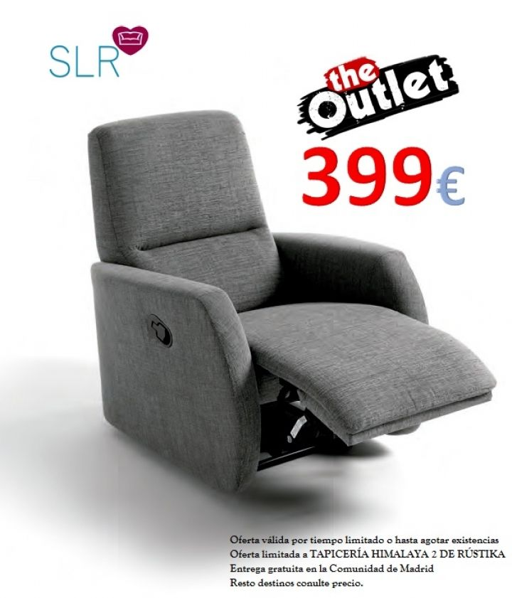 Oferta en Sillón Relax modelo DALIA Tajoma por sólo 399 €!!! Sillón Relax de Tajoma en OFERTA!!! OFERTA EN TAPICERÍA CON TRATAMIENTO ANTIMANCHAS. OFERTA LIMITADA Más información en: http://sofaslasrozas.com/sofas-de-tela/sillon-relax-modelo-dalia-tajoma-130.html