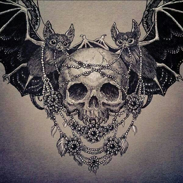 Skull and bats. I LOVE THIS ~ Tattoo idea