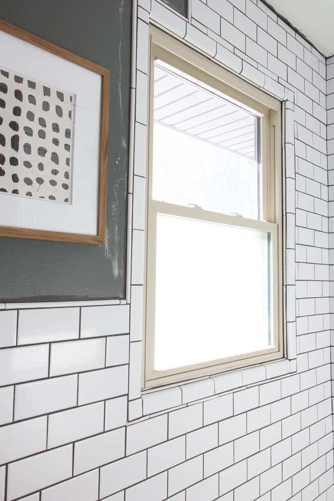 Our Modern Subway Tile Bathroom In 2020 Subway Tiles Bathroom Minimalist Wall Decor Window In Shower