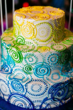 Love the cake and how the design goes from yellow to greens to turquoise blue and finally to deep blue. #Mitzvahinspiration