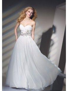 Bärlbroderi A-line Axelbandslös Hjärtformad Floor-length Chiffong Prom Dresses