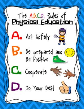 This poster can be used in the physical education classroom or gym. The four rules will help students make smart choices as they get fit and have fun in your special enrichment class!