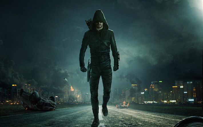 Download wallpapers 4k, Oliver Queen, Arrow, Season 6, 2017 movie, Green Arrow, superheroes, Stephen Amell