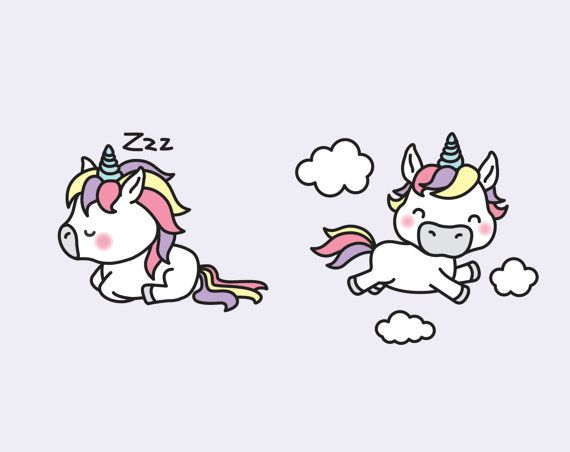 Premium Vector Clipart  Kawaii Unicorns  by LookLookPrettyPaper