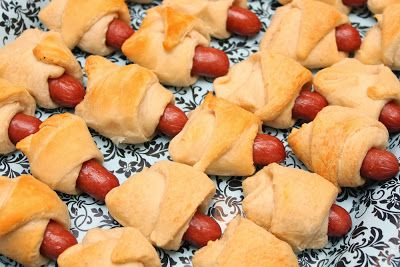 simple and super easy baby shower food ideas, dessert inspirations - little sausages baked in bread
