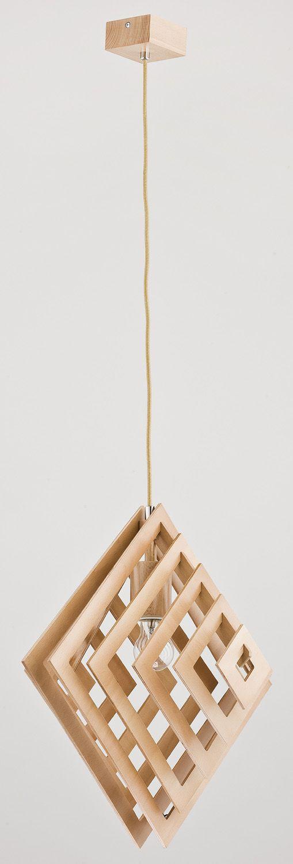 Lampa wisząca zwis oprawa Alfa Zoltan 1x60W E27 drewno 60304