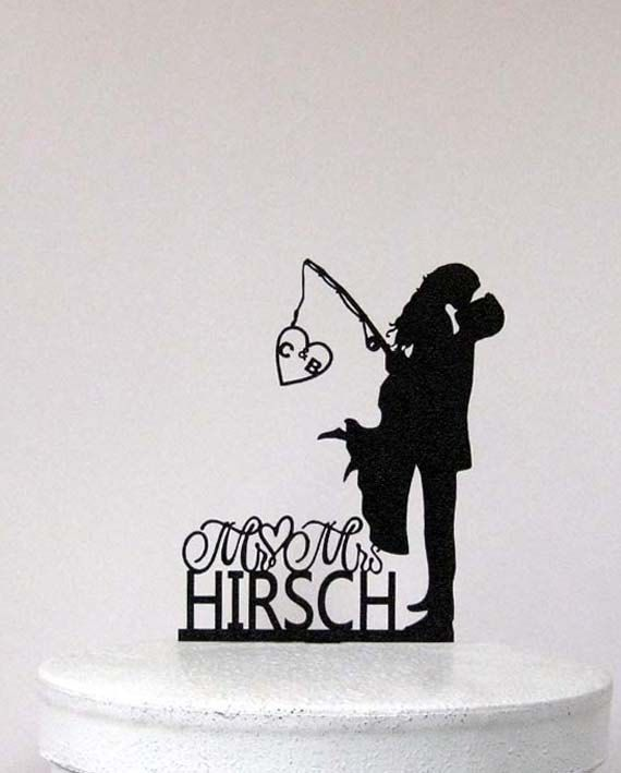 Personalized Wedding Cake Topper - Wedding Bride and Groom silhouette with personalized Initials and Mr&Mrs last name
