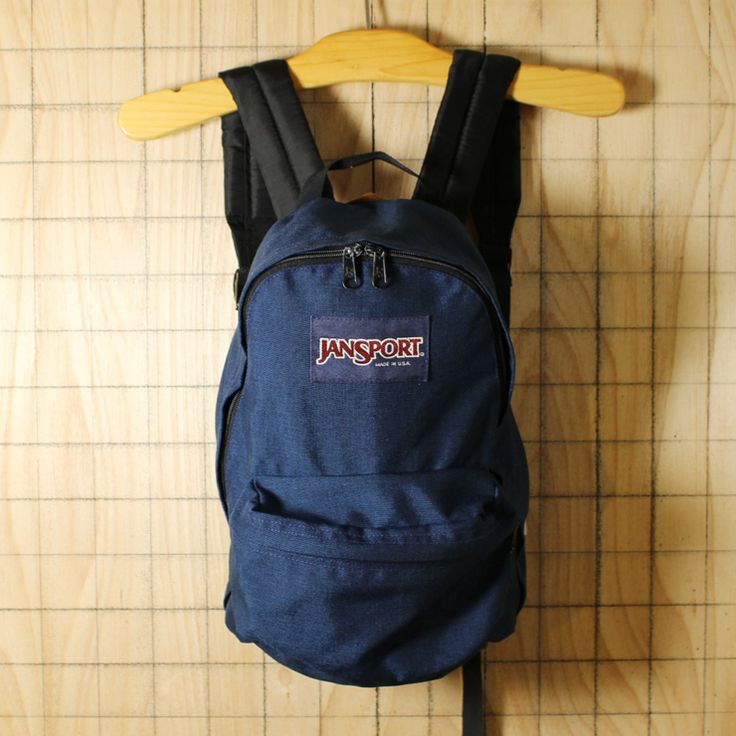 JANSPORT/USA製USED/ネイビー/ナイロンキャンバスリュックサック・デイパック/bar35