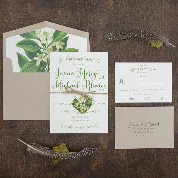 Hand Lettered Invitation Botanical Wedding Invitation Rustic