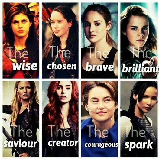 Annabeth from Percy Jackson, Susan from Narnia, Tris from Divergent, Hermione from Harry Potter, Emma from Once Upon a Time, Clary from The Mortal Instruments, Hazel from The Fault in Our Stars, and Katniss from The Hunger Games.